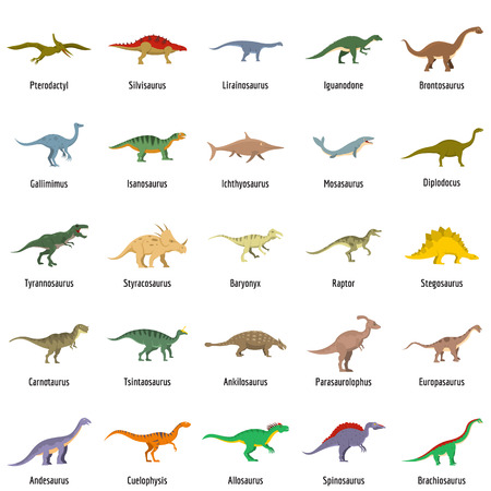 Animal character dinosaur vector icons set. Flat illustration of dino pheristoric dinosaur types signed name vector icons isolated on white backround