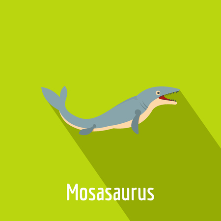 Mosasaurus icon. Flat illustration of mosasaurus vector icon for web.