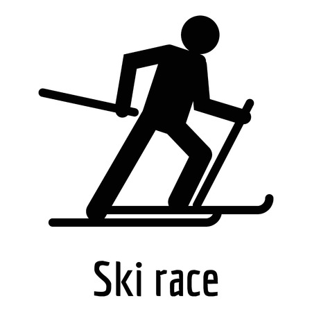 Ski race icon. Simple illustration ofski race vector icon for web. Vettoriali