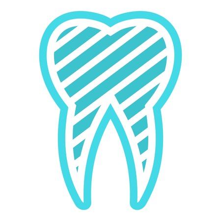 Brushed logo tooth icon. Flat illustration of brushed tooth vector icon for web. Illustration