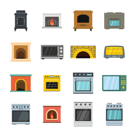 Oven stove furnace fireplace icons set. Flat illustration of 16 oven stove furnace fireplace vector icons for web