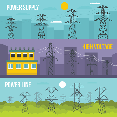 Electrical tower voltage banner horizontal concept set. Flat illustration of 3 electrical tower voltage vector banner horizontal concepts for web Vettoriali