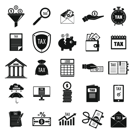 Taxes icons set. Simple illustration of taxes vector icons for web
