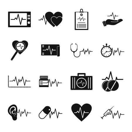 Heart pulse beat icons set. Simple illustration of heart pulse beat vector icons for web Illustration