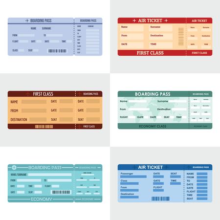Ticket airline banner horizontal concept set. Flat illustration of ticket airline vector banner horizontal concepts for web Vectores