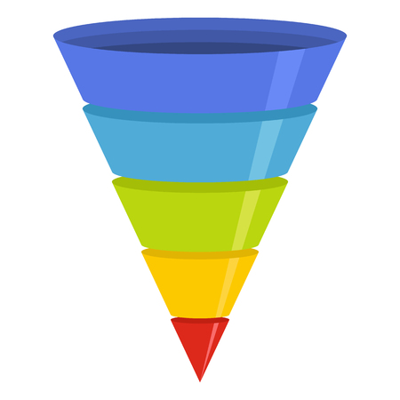 Flat illustration of marketing funnel vector icon for web