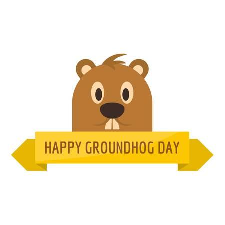 Happy groundhog day icon. Flat illustration of happy groundhog day vector icon for web