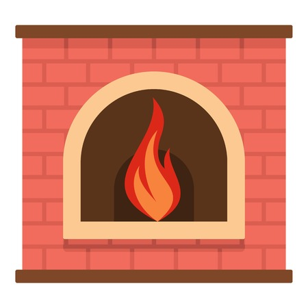 Retro fireplace icon. Cartoon illustration of retro fireplace vector icon for web