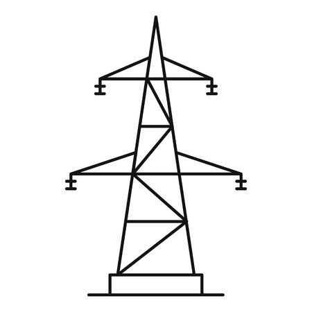 Outline illustration of electrical power station vector icon for web