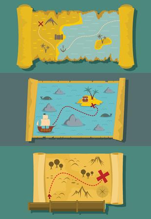 Map of treasure old pirate banner horizontal concept set. Flat illustration of 3 map of treasure old pirate vector banner horizontal concepts for web