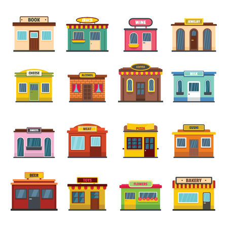 Store facade front shop icons set. Flat illustration of 16 store facade front shop vector icons for web