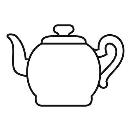 Théière avec l'icône de la casquette. Illustration de contour de la théière avec l'icône de vecteur de casquette pour le web Vecteurs