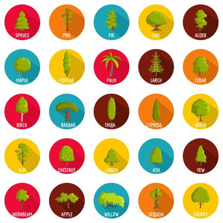 Tree icons set. Flat illustration of 25 tree vector icons circle isolated on white