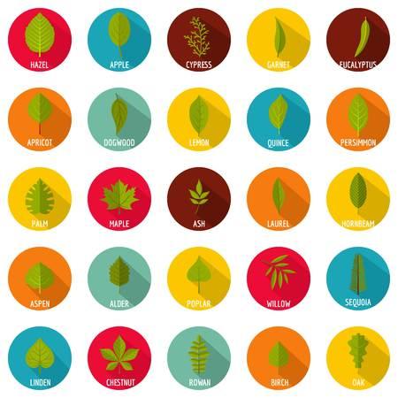 Leaf icons set. Flat illustration of 25 leaf vector icons circle isolated on white