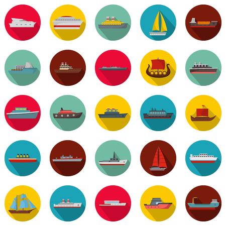Marine vessels types icons set. Flat illustration of 25 marine vessel type vector icons circle isolated on white