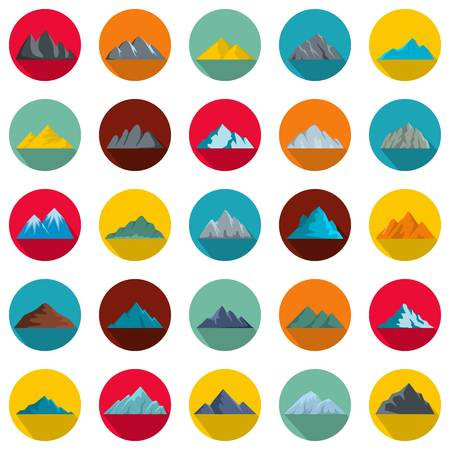Mountain icons set. Flat illustration of 25 mountain vector icons circle isolated on white