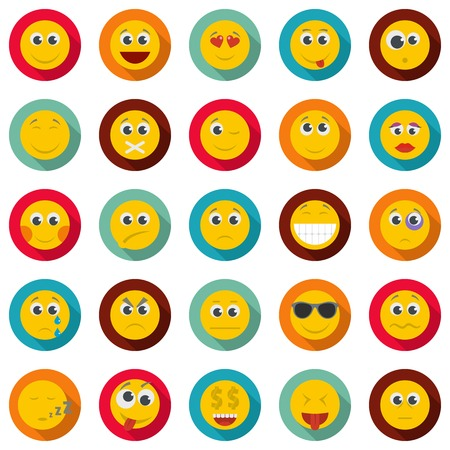 A Smile icon set. Flat illustration of 50 smile vector icons circle isolated on white