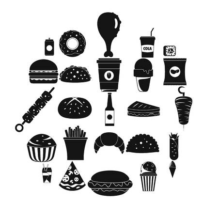 Simple fast food icons set in circular black and white illustration.