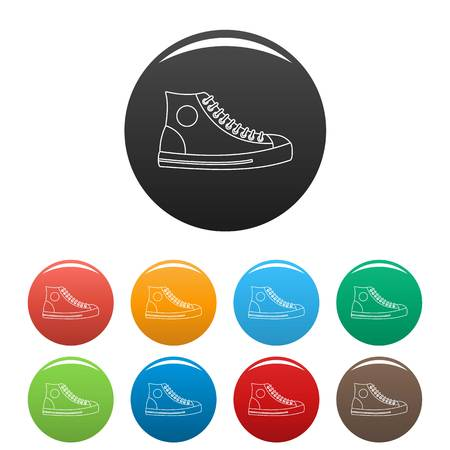 Men shoe icons color set isolated on white background for any web design Illustration