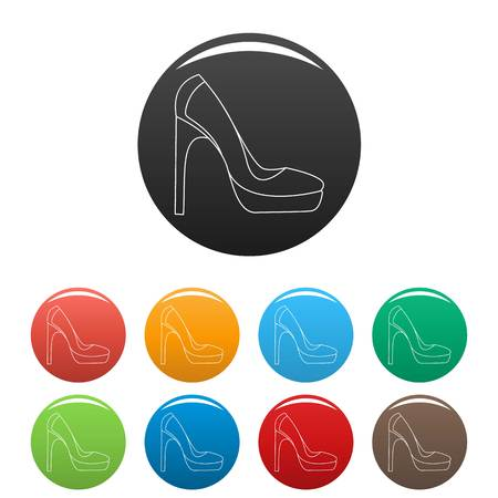Woman shoes icons color set isolated on white background for any web design Illustration