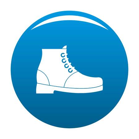 Hiking boots icon vector blue circle isolated on white background