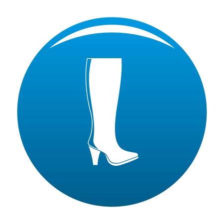 Mulher botas ícone vector azul círculo isolado no fundo branco