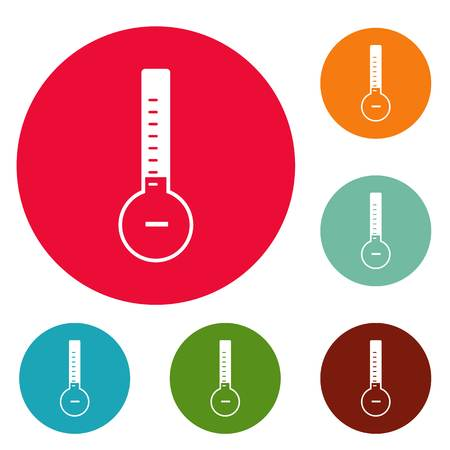 Thermometer cold icons circle set vector isolated on white background