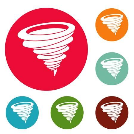 Hurricane icons circle set vector isolated on white background Illustration