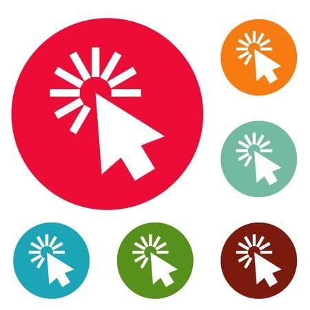 Cursor interface icons circle set vector isolated on white background Illustration