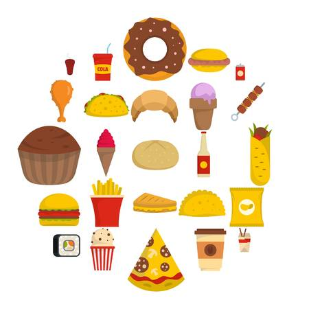 Fast food icons set. Flat illustration of 25 fast food vector icons isolated on white background