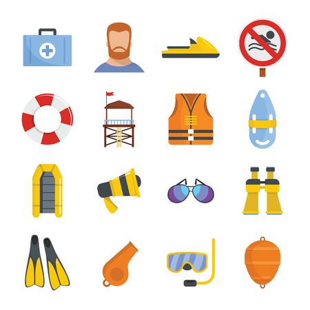 Lifeguard save icons set. Flat illustration of 16 lifeguard save vector icons for web Illustration