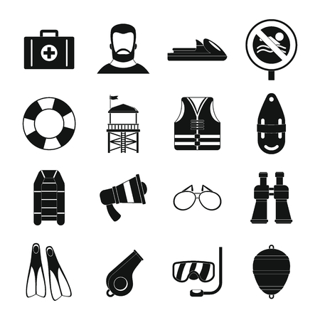 Lifeguard save icons set. Simple illustration of 16 lifeguard save vector icons for web