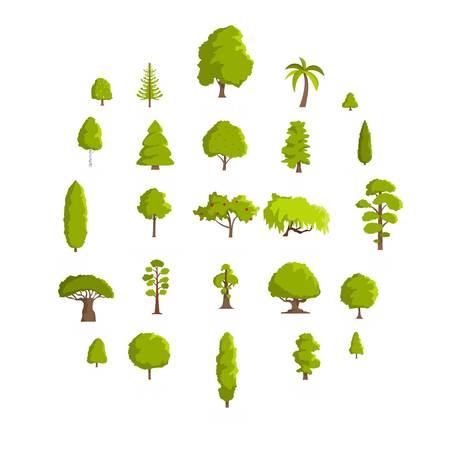 Ensemble d'icônes d'arbre. Illustration de plate de 25 icônes vectorielles d'arbre isolé sur fond blanc