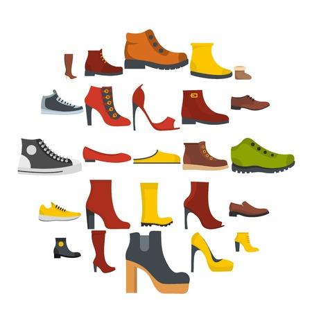Schoenen schoenen icon set geïsoleerd. Vlakke afbeelding van 25 schoenen vector iconen voor web