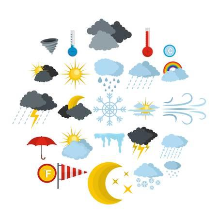 Weather icons set. Flat illustration of 25 weather vector icons isolated on white background