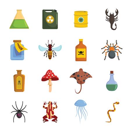 Poison danger toxic icons set. Flat illustration of 16 poison danger toxic vector icons for web