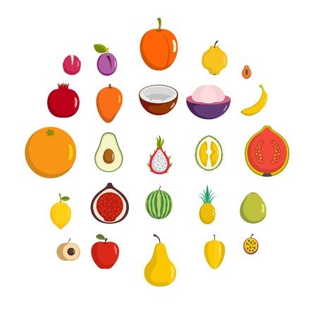 Fruits icons set. Flat illustration of 25 fruits vector icons isolated on white background