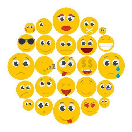 Smile icon set isolated. Flat illustration of 50 smile vector icons for any web design