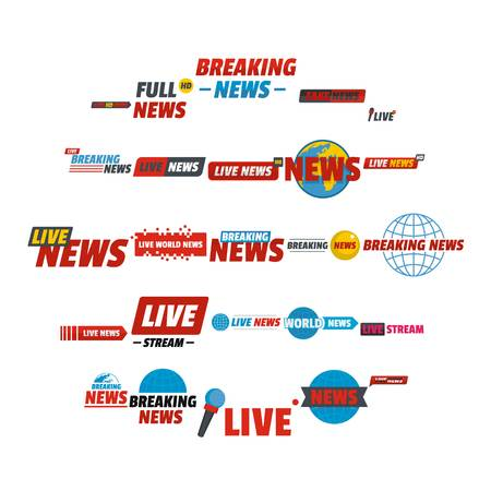 News live breaking label icons set. Flat illustration of 25 news live breaking label vector icons for web Vettoriali