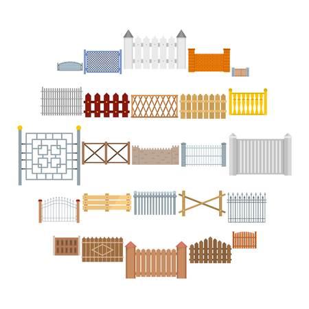 Conjunto de ícones de tipos de país de vedação. Ilustração plana de 25 ícones de vetor de cerca para web Ilustración de vector