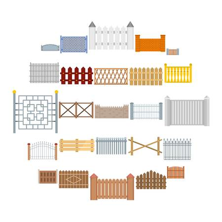 Fence country types icons set. Flat illustration of 25 fence vector icons for web
