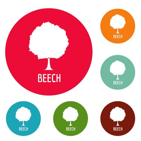 Beech tree icons circle set vector isolated on white background