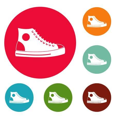 Men shoe icons circle set vector isolated on white background