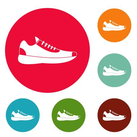 Sneakers icons circle set vector isolated on white background