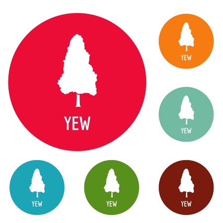 Yew tree icons circle set vector isolated on white background Illustration