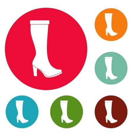Mulher botas ícones círculo vector set isolado no fundo branco