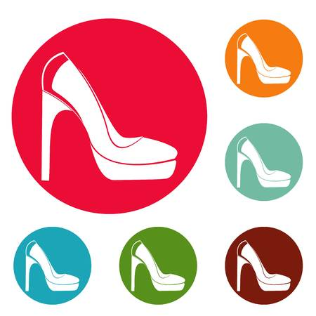 Woman shoes icons circle set vector isolated on white background