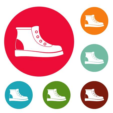 Hiking boots icons circle set vector isolated on white background