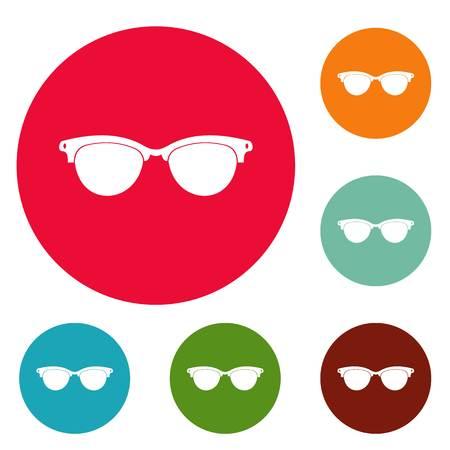 Eyeglasses for blind icons circle set vector isolated on white background Illustration