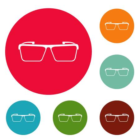 Square lens icons circle set vector isolated on white background Illustration